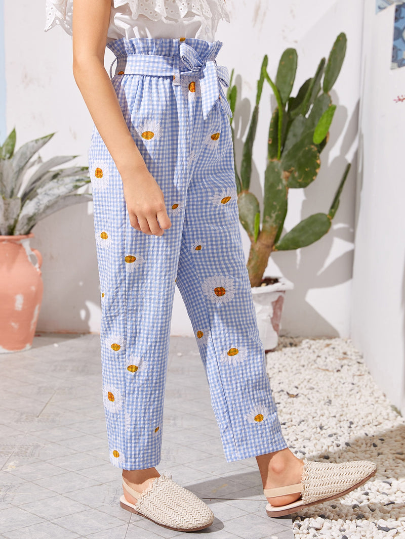 Girls Paperbag Waist Belted Daisy Floral & Gingham Pants