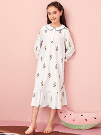 Girls Peter Pan Collar Buttoned Half Placket Ice Cream Nightdress