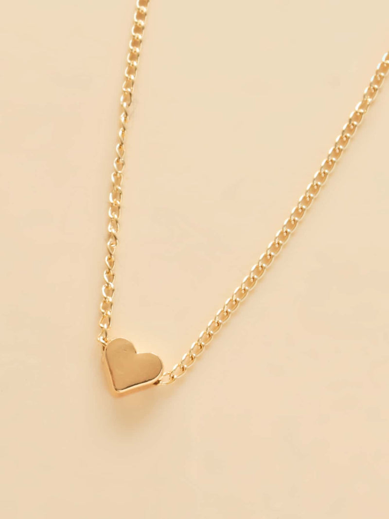 Girls Gold Heart Charm Necklace