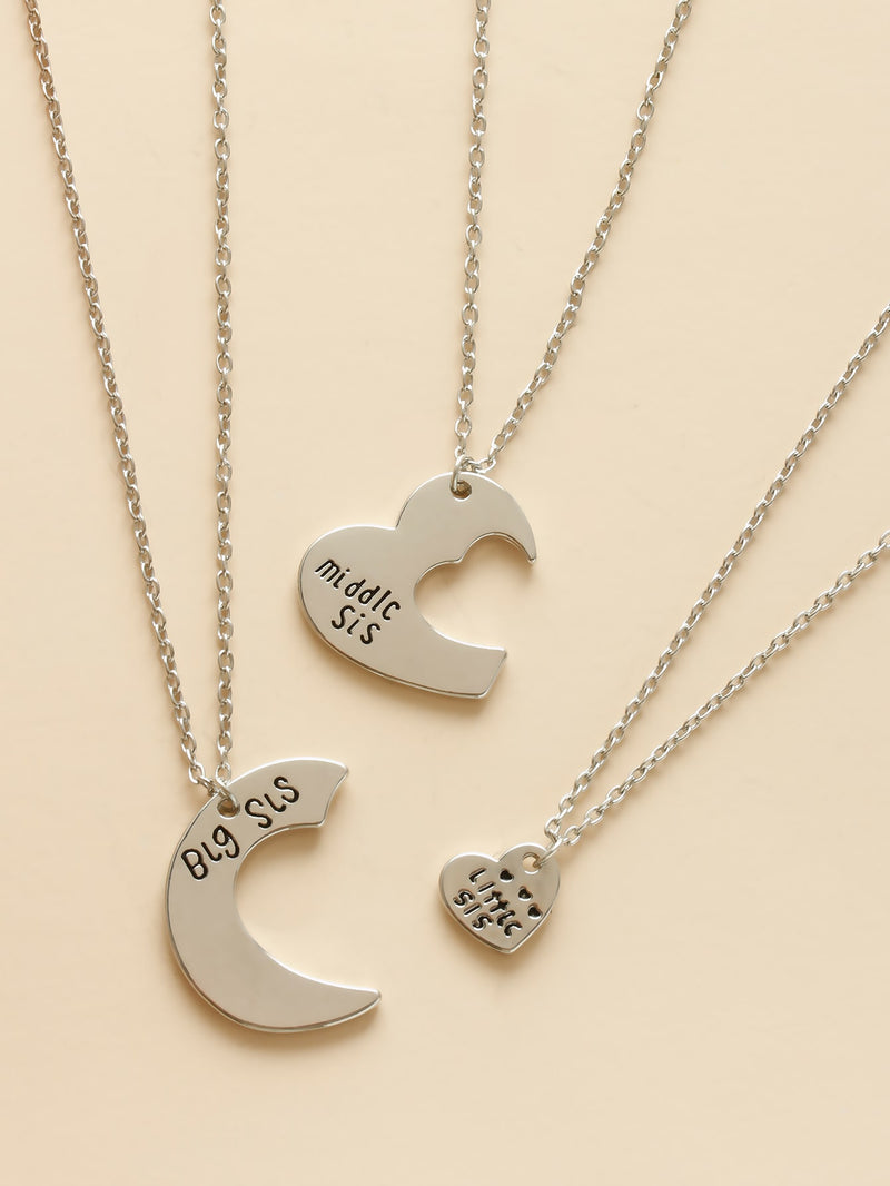 3pcs Girls Letter Decor Heart Charm Necklace