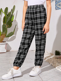 Girls Elastic Waist Tartan Pants
