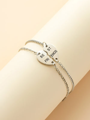 2pcs Girls Half Heart Charm Chain Bracelet