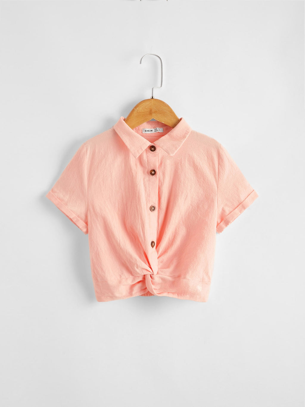 Girls Collared Buttoned Front Twist Hem Top