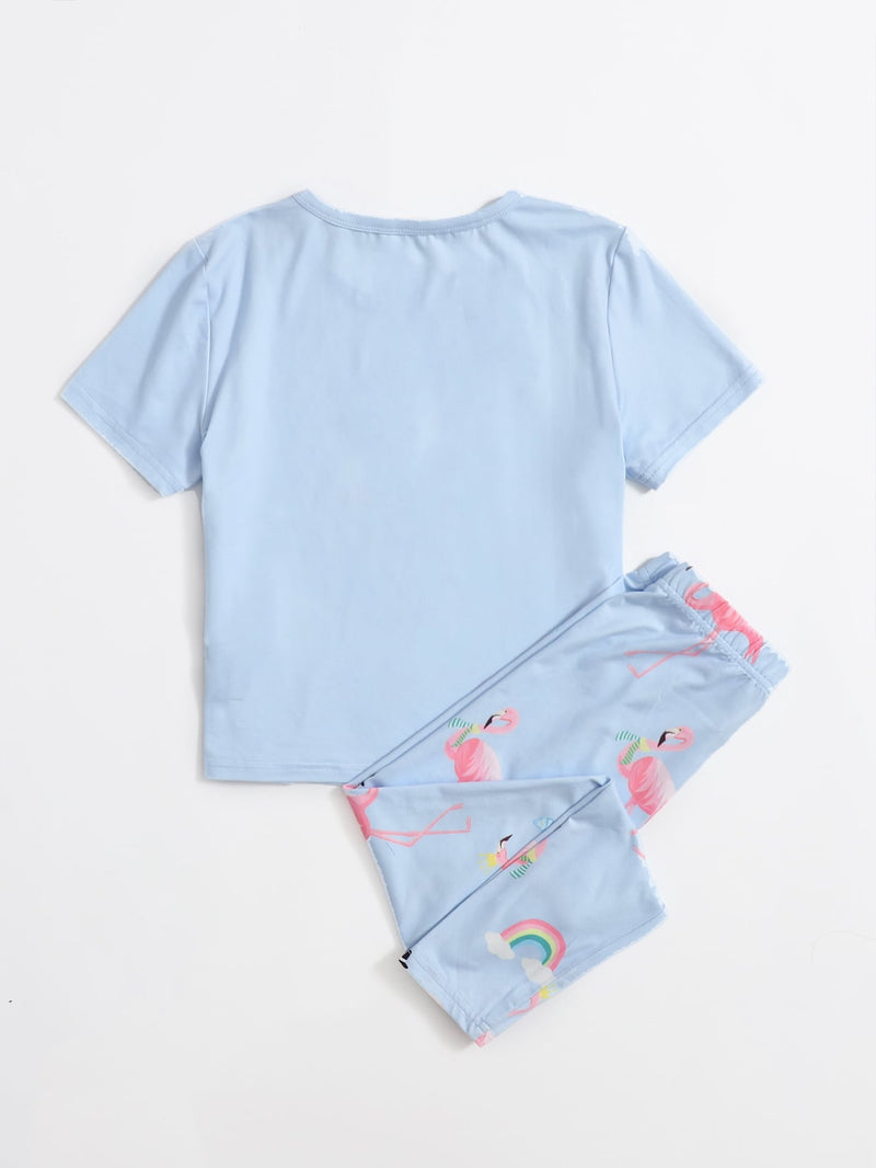 Girls Flamingo Print Top & Pants PJ Set - FD