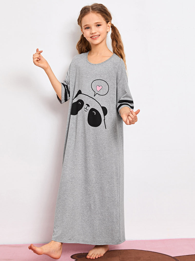 Girls Panda Print Striped Sleeve Nightdress