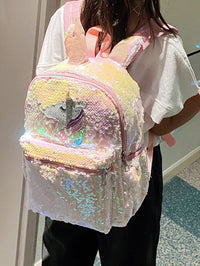Girls Allover Sequin Decor Unicorn Graphic Backpack