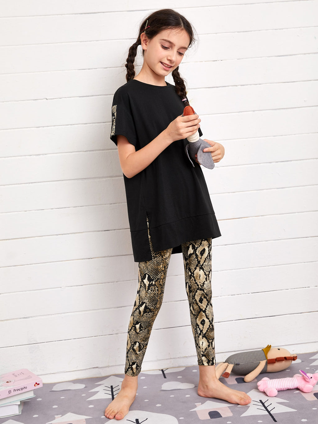 Girls Slit Hem Longline Top & Snakeskin Pants PJ Set