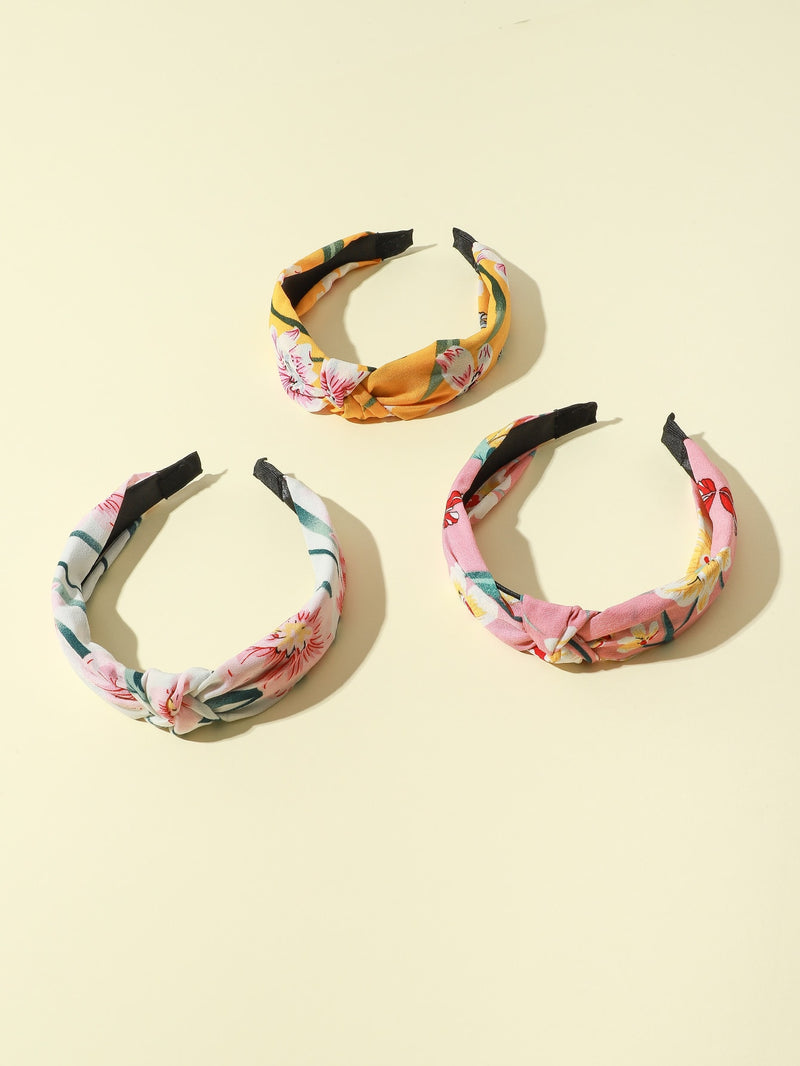 3pcs Girls Flower Pattern Hair Hoop