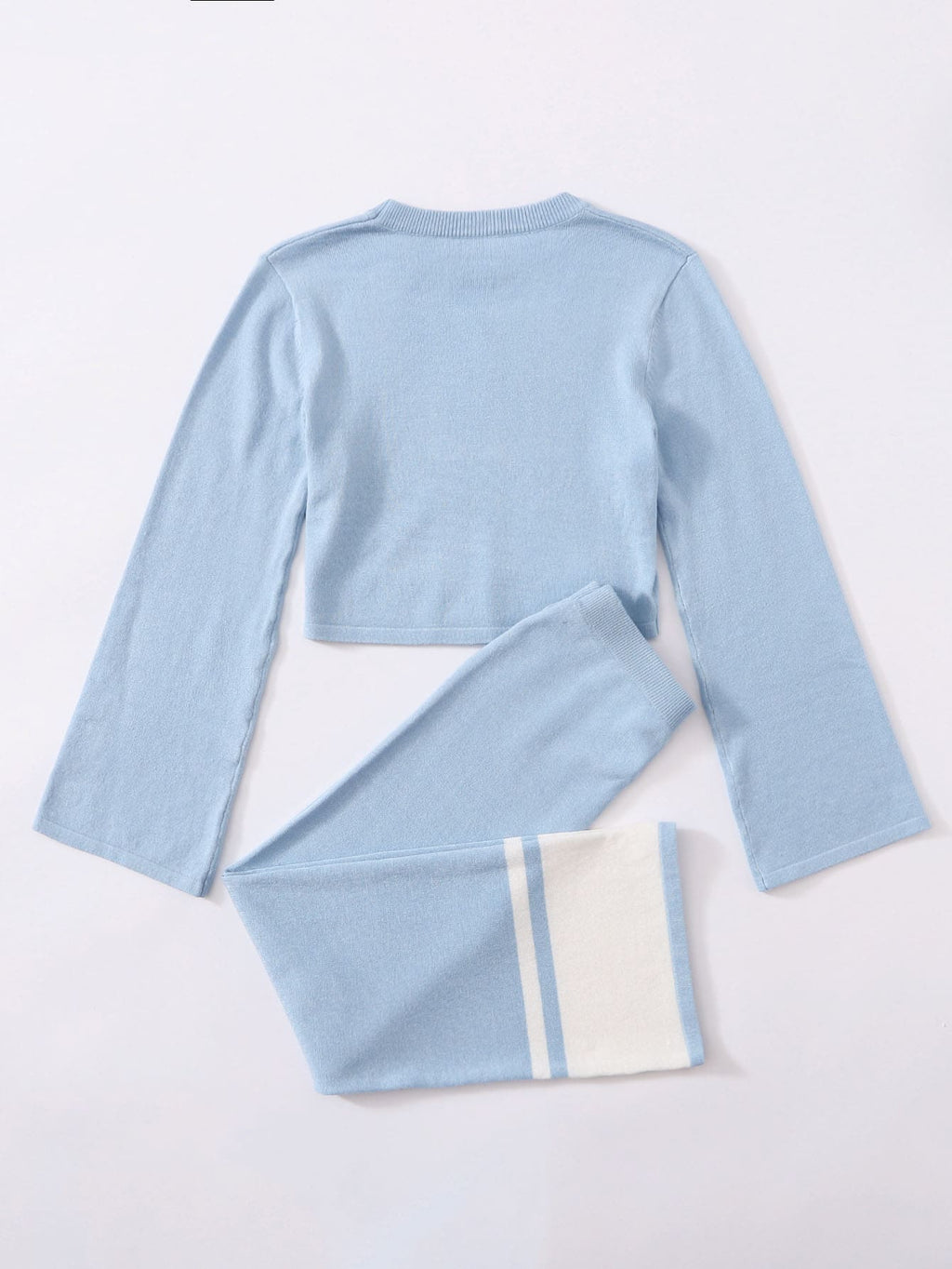 Girls Bell Sleeve Sweater and Two Tone Pants Set