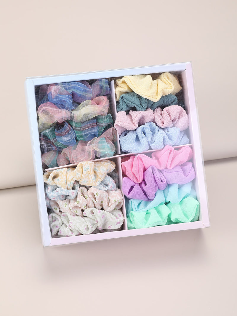 16pcs Toddler Girls Plaid Pattern Scrunchie
