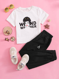 Girls Cuffed Sleeve Figure and Letter Graphic Top & Pants Set