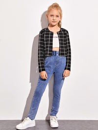 Girls Open Front Grid Print Jacket