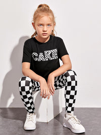 Girls Letter Graphic Tee & Checked Leggings Set