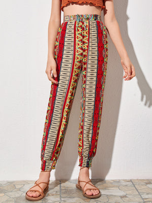 Girls Knot Waist Tribal Print Tapered Pants