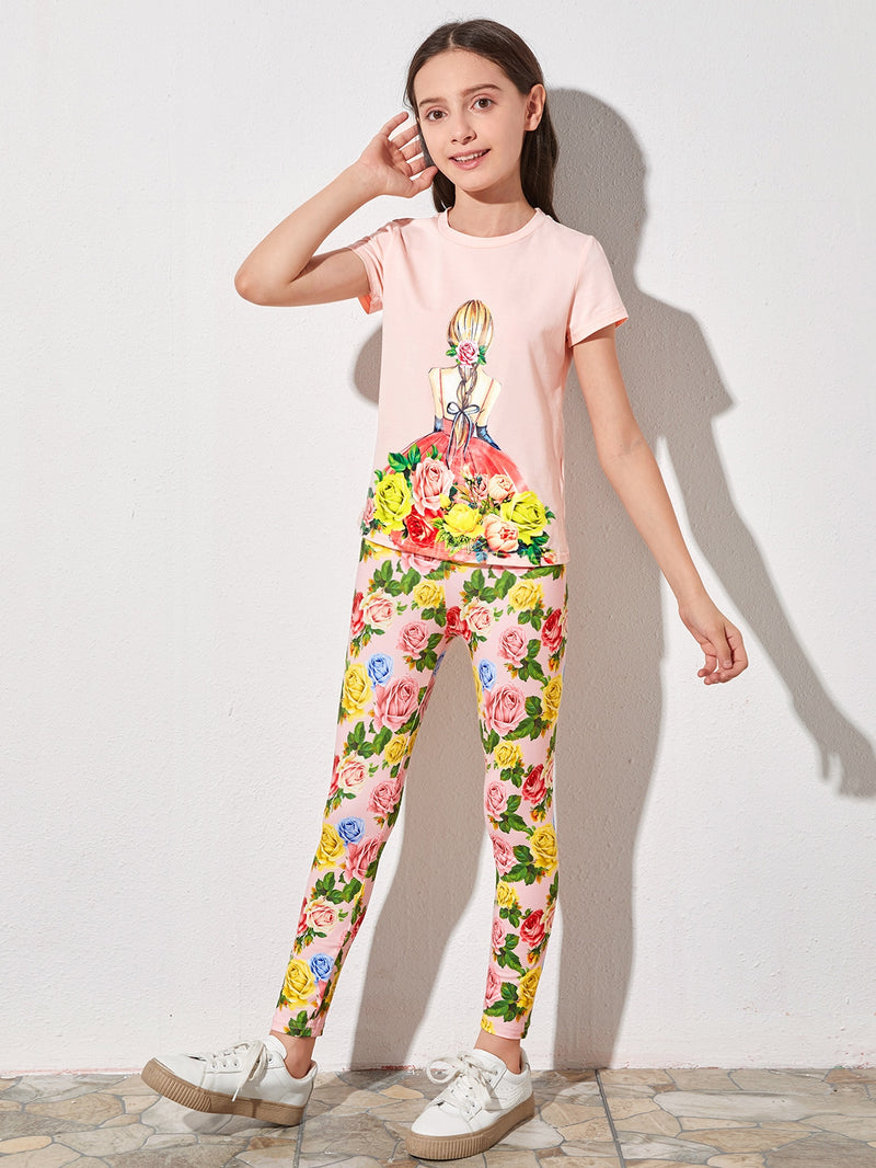 Girls Figure and Floral Print Tee & Leggings Set