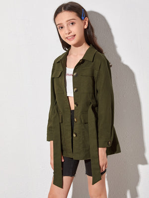 Girls Flap Pockets Belted Overshirt