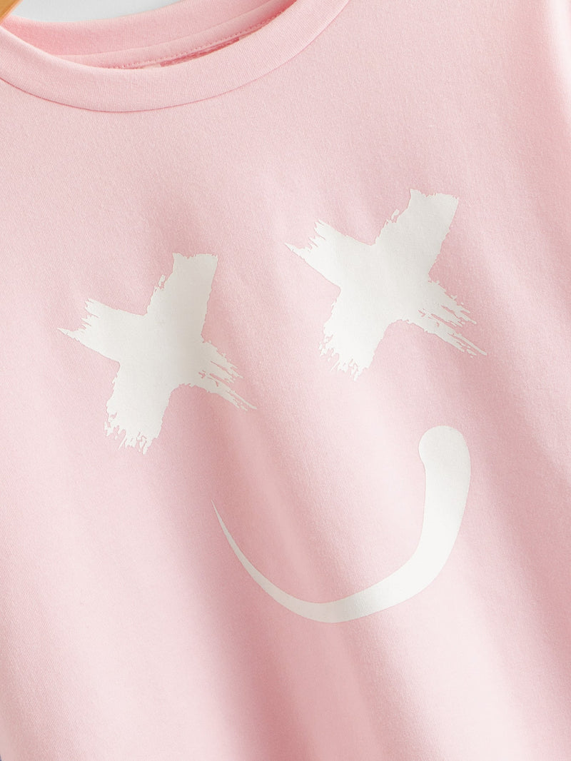 Girls Drop Shoulder Cartoon & Letter Graphic Pullover