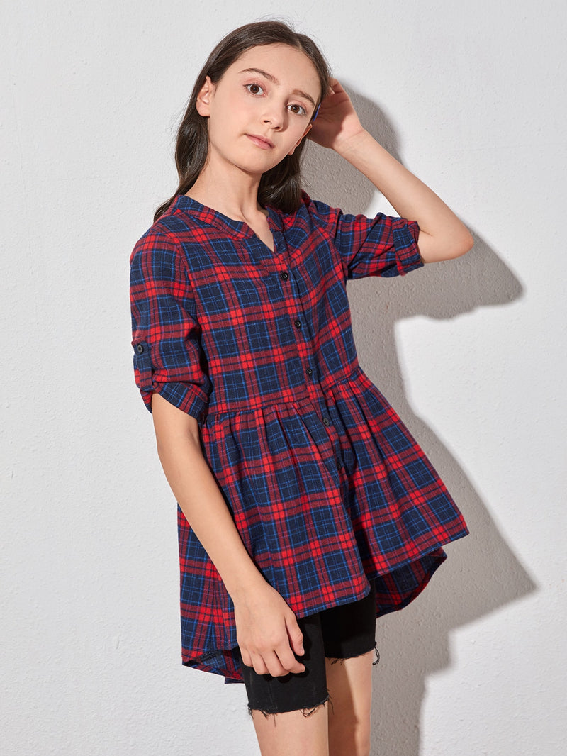 Girls Roll Tab Sleeve Asymmetrical Hem Tartan Blouse