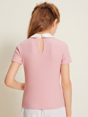 Girls Contrast Pearl Beaded Peter-pan-collar Rib-knit Top
