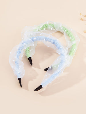 2pcs Toddler Girls Mesh Panel Hair Hoop