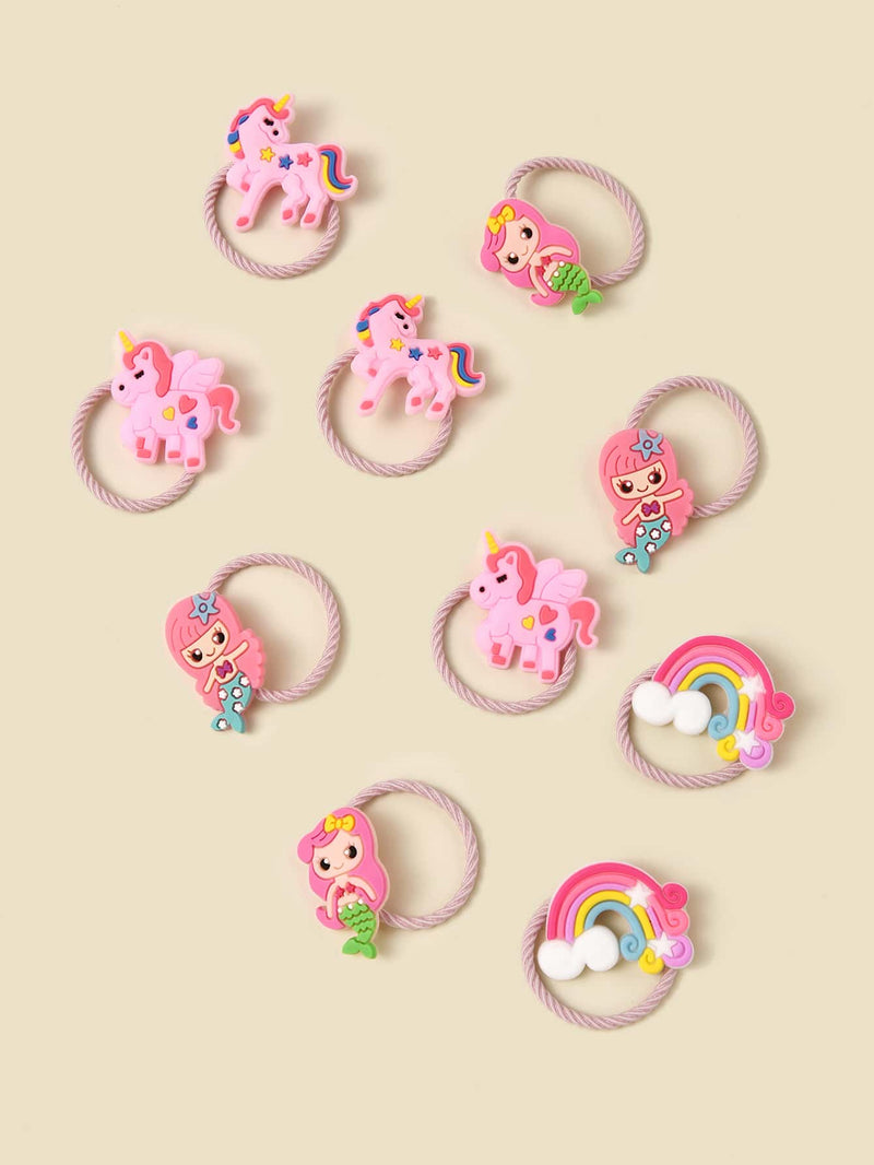 10pcs Toddler Girls Unicorn Decor Hair Tie