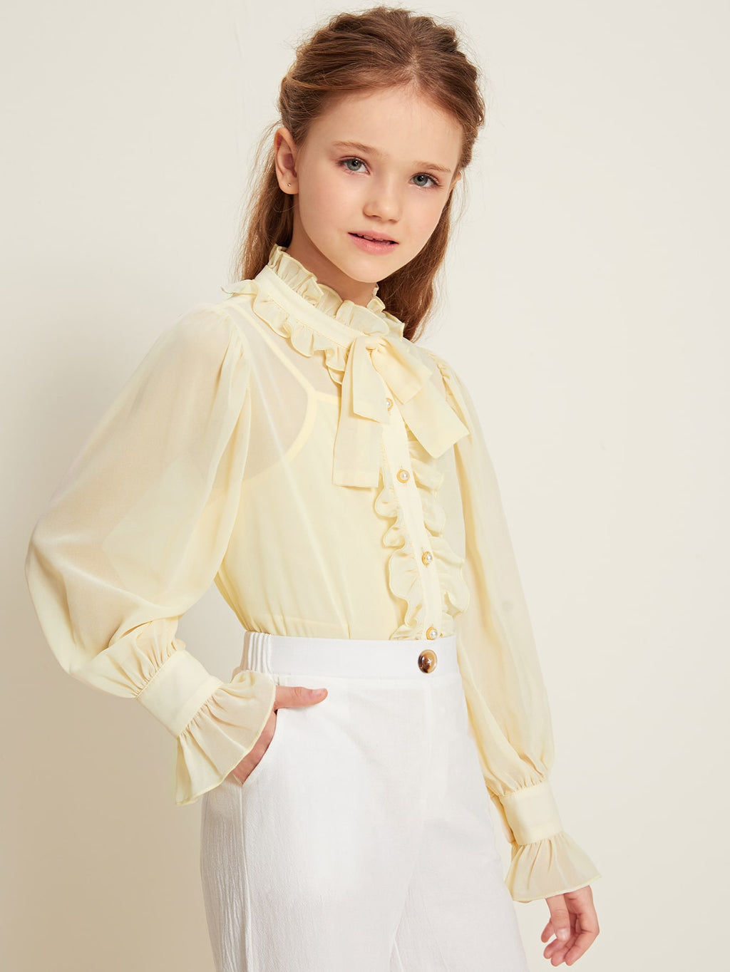 Girls Frill Trim Bow Front Chiffon Blouse With Camisole
