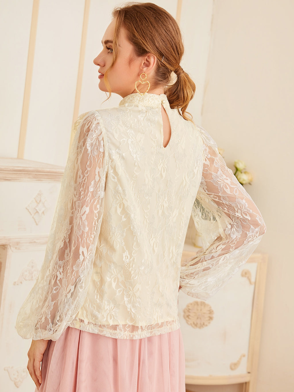 Mock Neck Ruffle Trim Lace Top