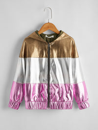 Girls Zipper Placket Colorblock PU Jacket
