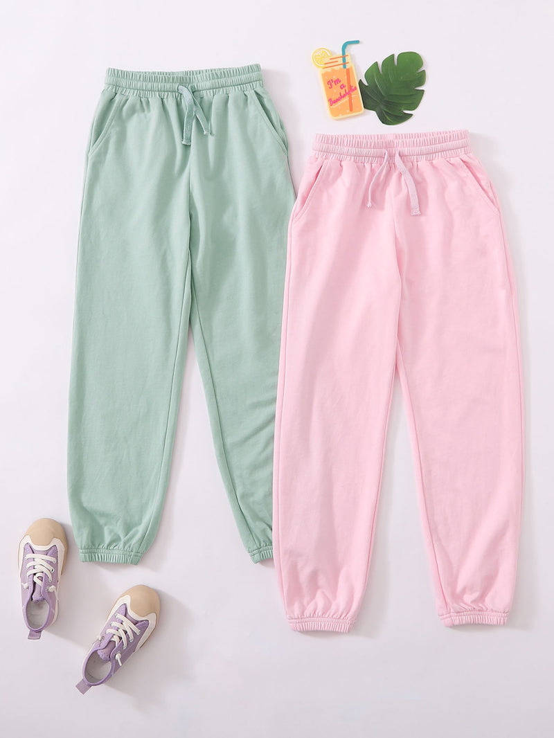 Girls 2 Pack Drawstring Waist Solid Sweatpants