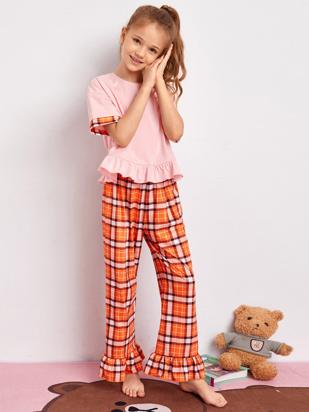 Girls Ruffle Hem Top & Plaid Pants PJ Set