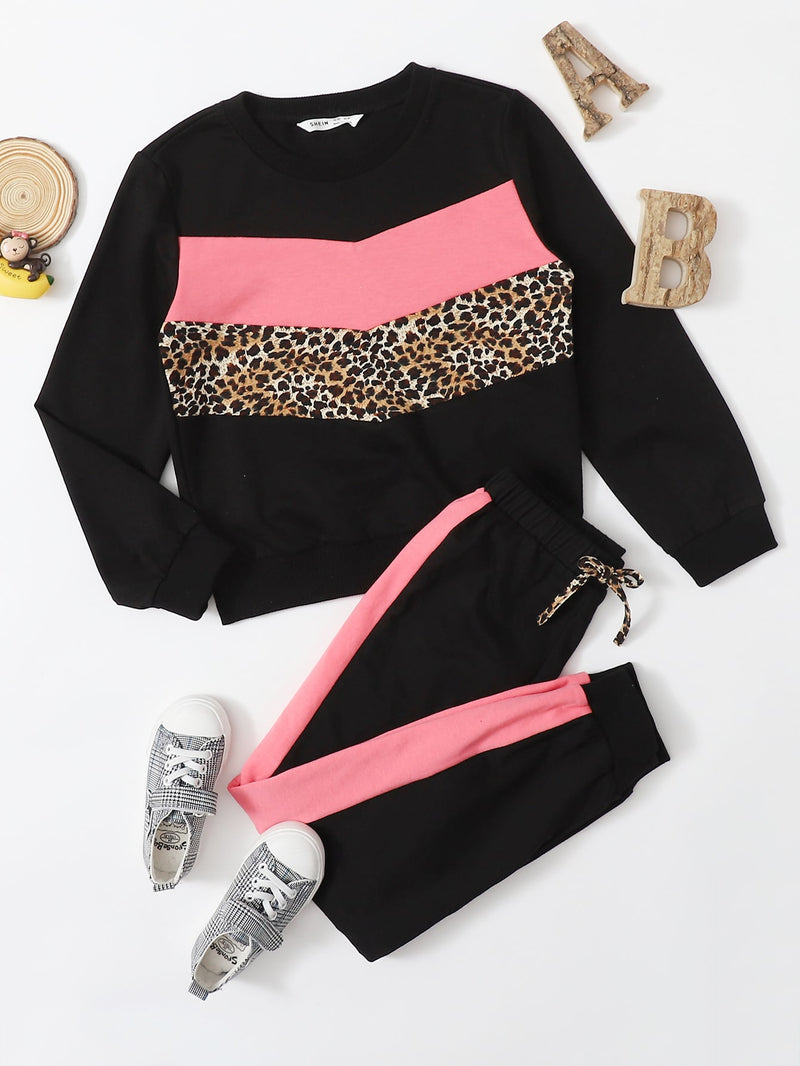 Girls Leopard and Colorblock Print Pullover & Sweatpants Set