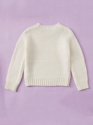 Girls Solid Round Neck Sweater