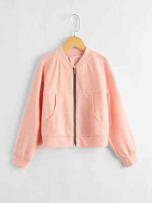 Girls Drop Shoulder Zipper Fly Bomber Jacket