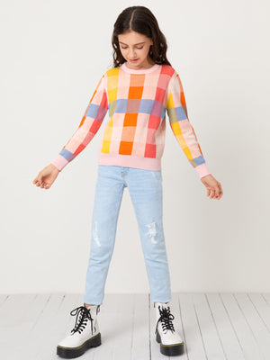 Girls Colorful Plaid Sweater