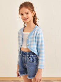 Girls Button Placket Gingham Crop Cardigan