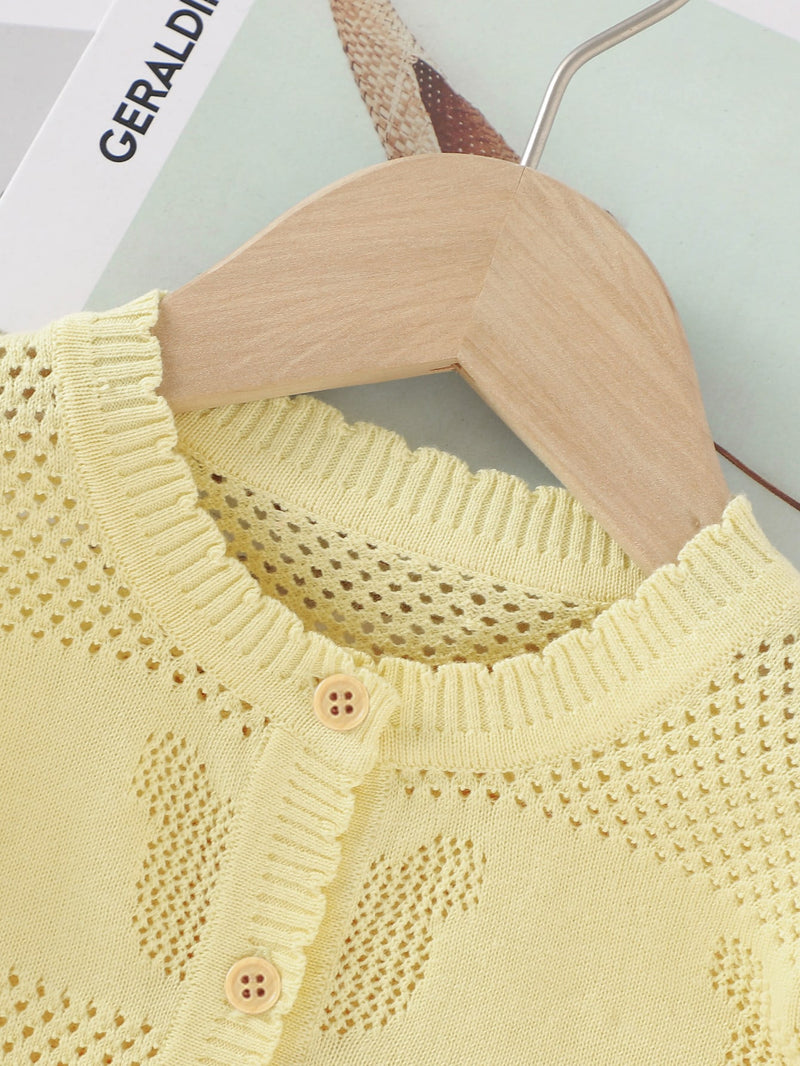 Girls Pointelle Knit Button Front Cardigan