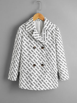 Girls Letter Graphic Notch Collar Double Button Blazer
