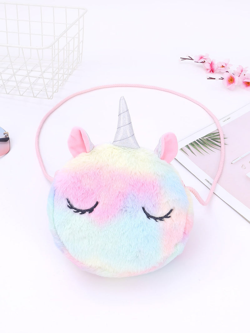 Girls Cartoon Unicorn Design Fluffy Crossbody Bag