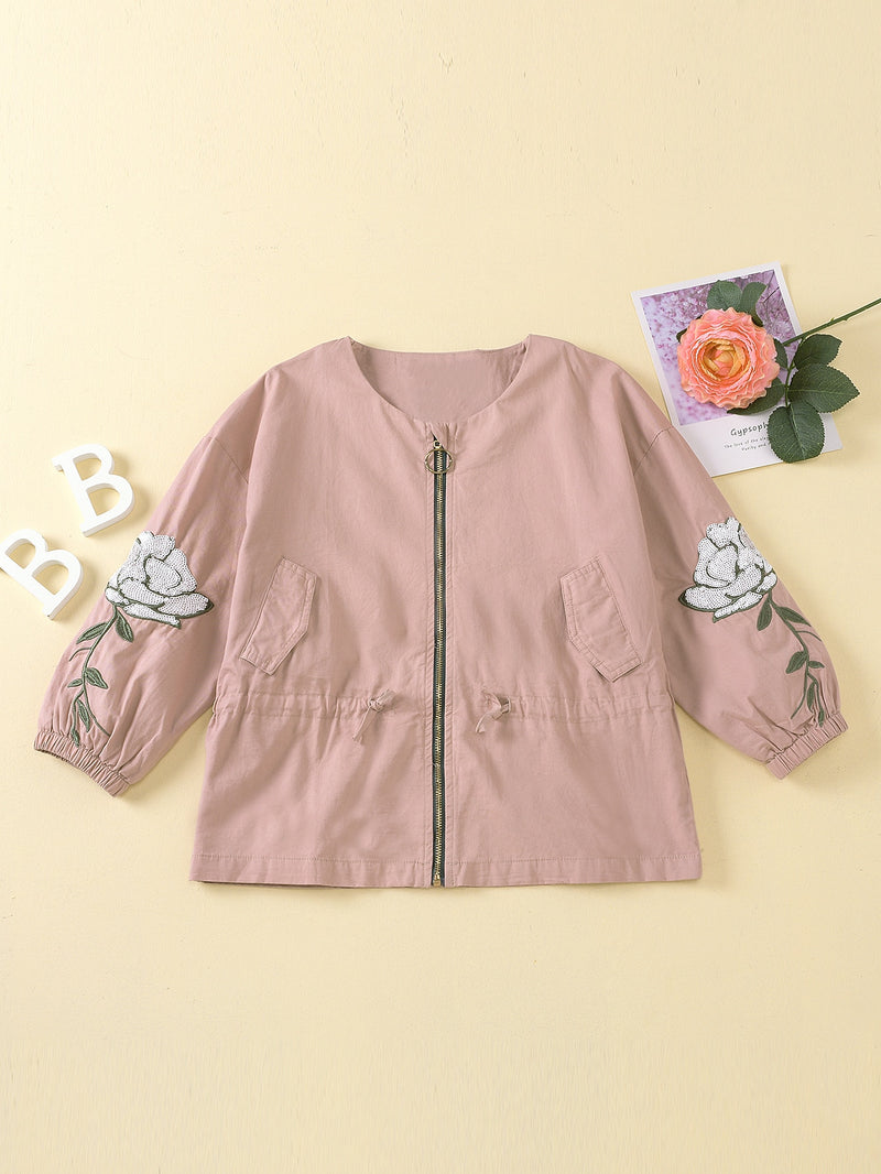 Girls Zip Up Drawstring Waist Embroidery Floral Coat