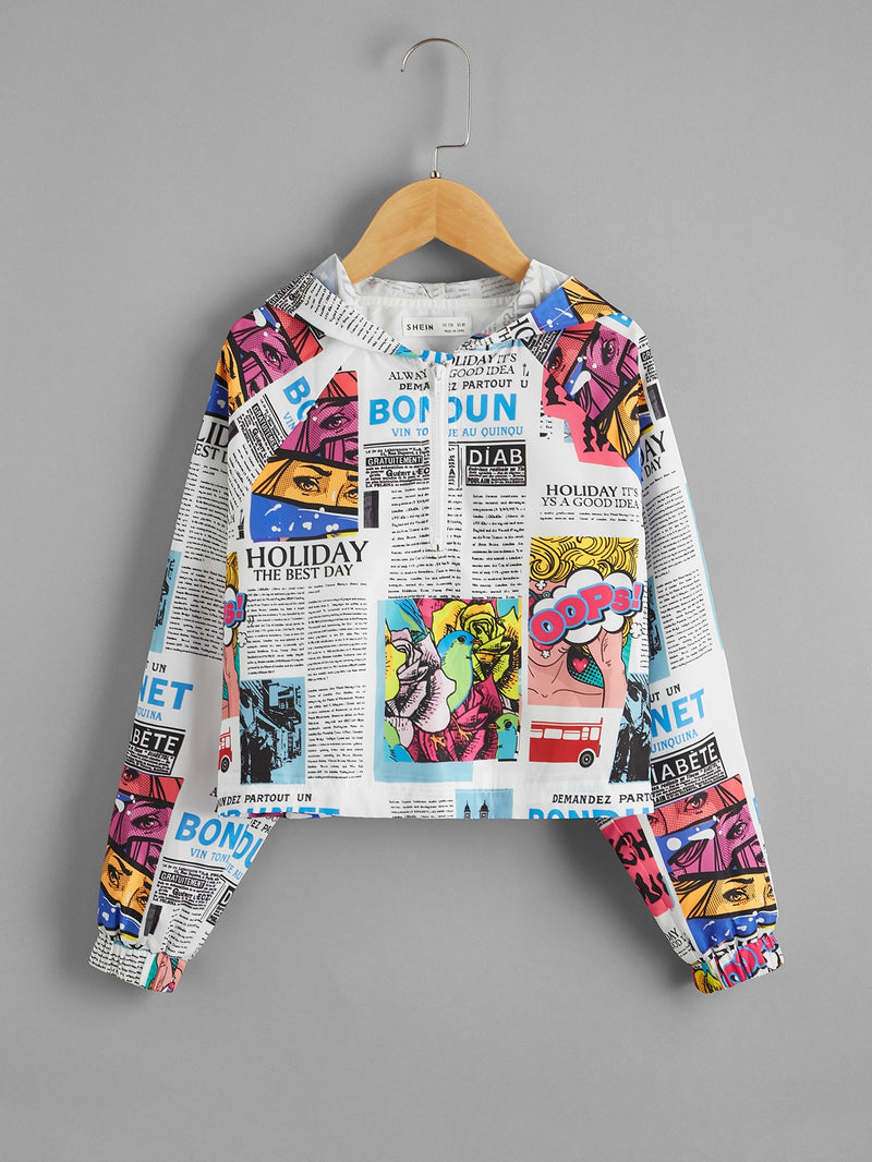 Girls Zipper Half Placket Pop Art Print Wind Jacket