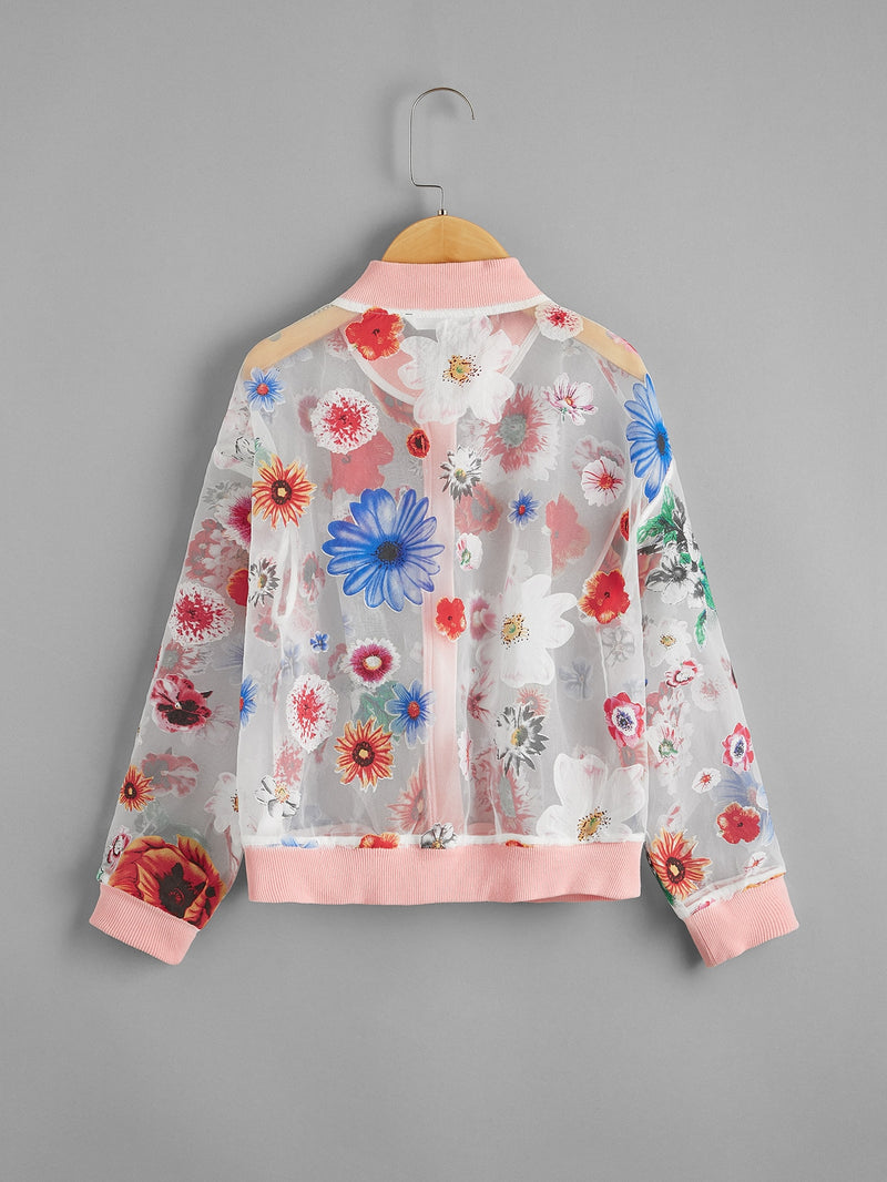 Girls Zip Up Floral Organza Bomber Jacket