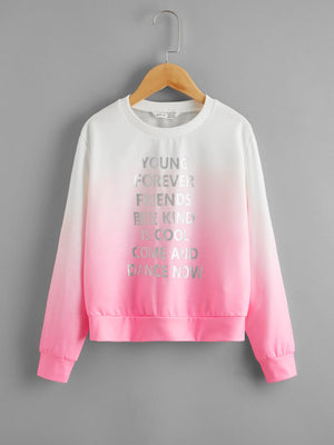 Girls Silver Slogan Graphic Ombre Pullover