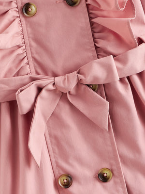 Girls Ruffle Trim Double Breasted Belted Trench Coat
