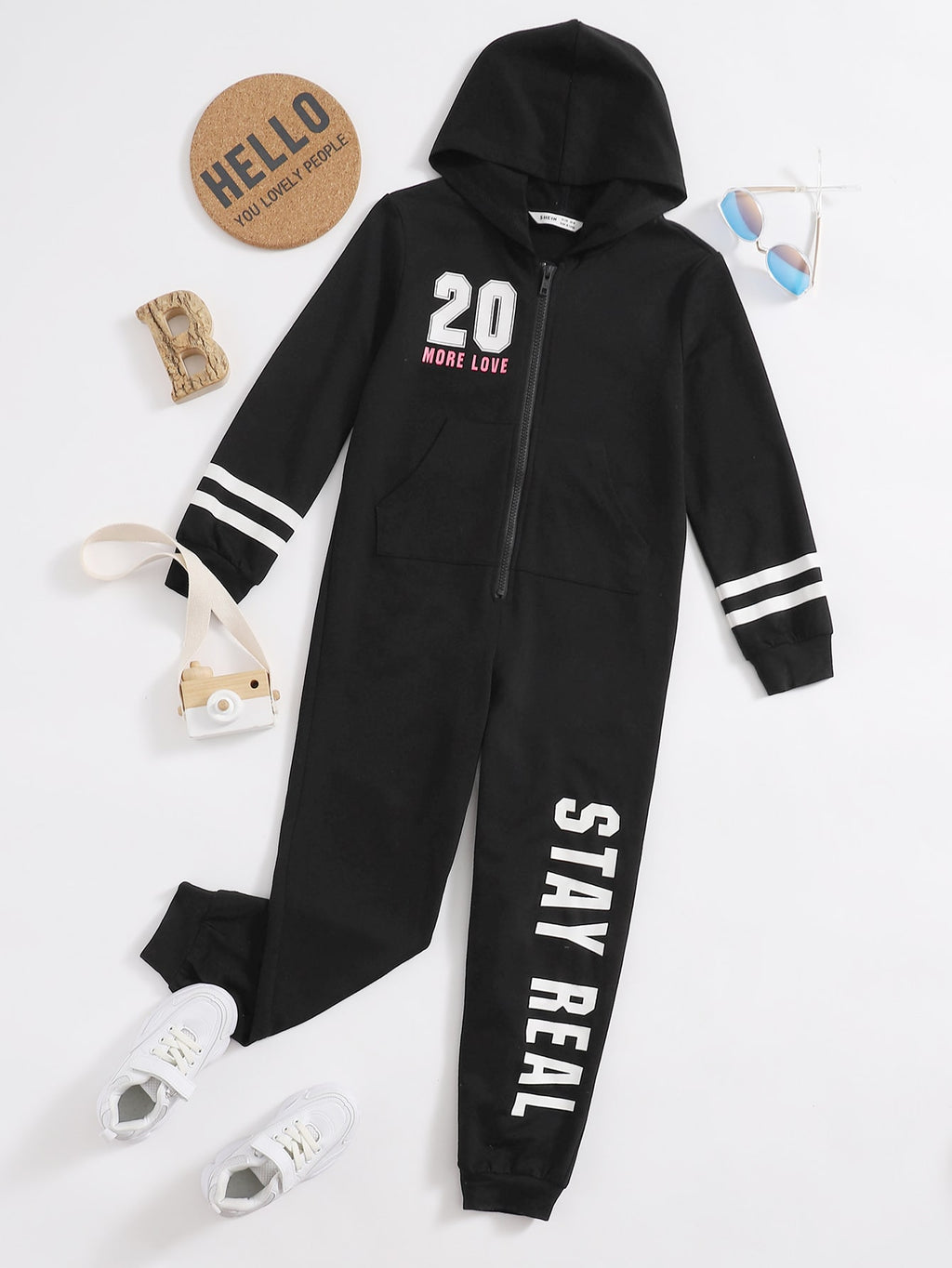 Girls Letter Graphic Zipper Placket Hooded Jumpsuit