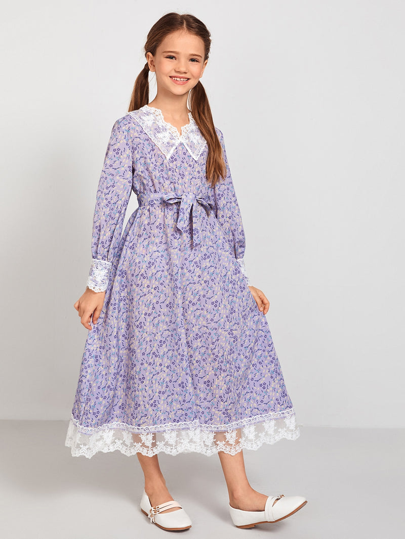 Girls Embroidered Mesh Trim Belted Ditsy Floral Dress