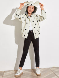 Girls Polka Dot 3D Ears Design Jacket