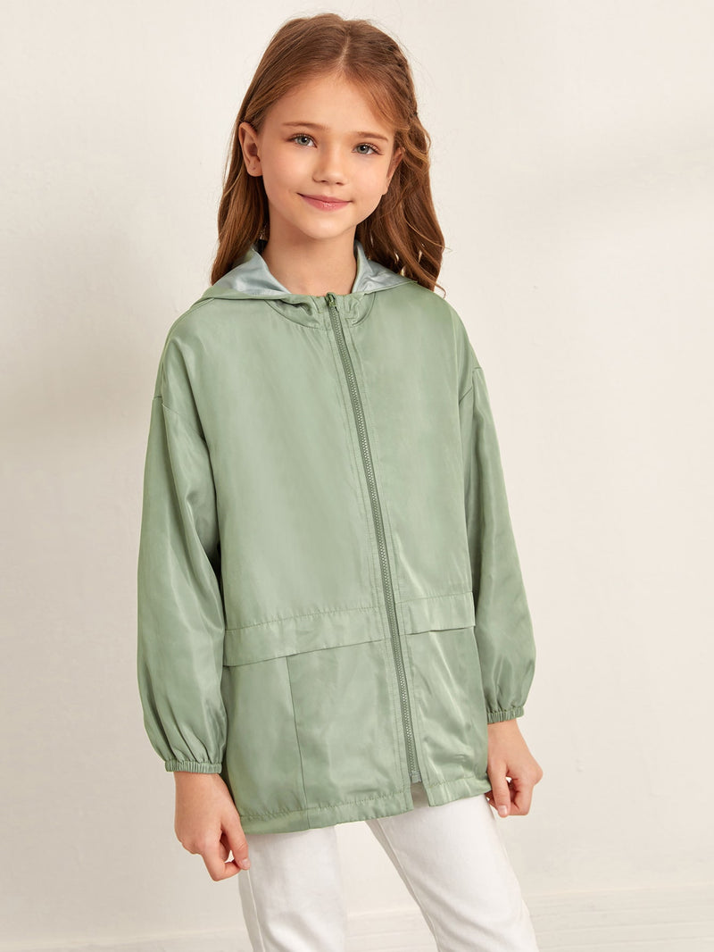 Girls Zipper Front Hooded Windbreaker Coat