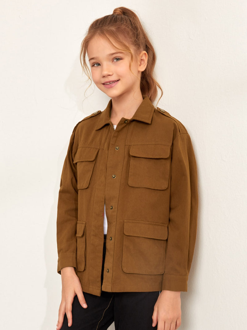 Girls Epaulets Flap Pockets Overshirt