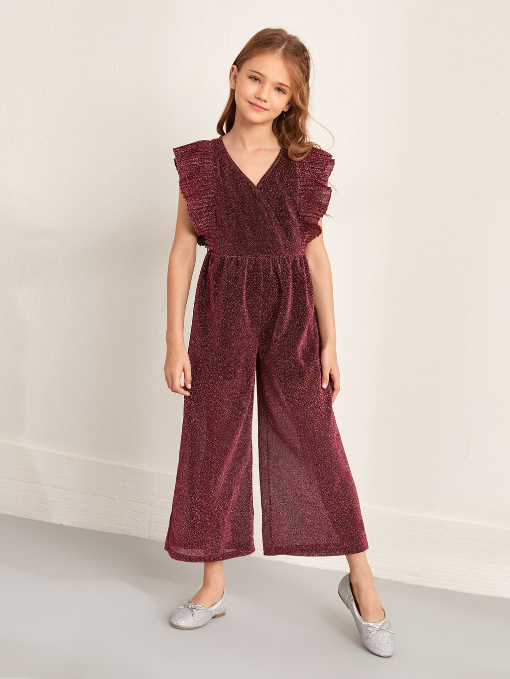Girls Pleated Trim Wide Leg Glitter Jumpsuit