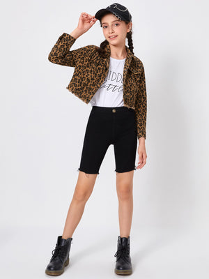 Girls Raw Hem Leopard Jacket